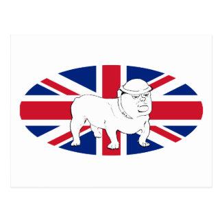 Churchill como dogo y Union Jack Tarjetas Postales