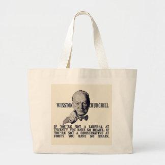 Churchill en conservadores y liberales bolsa de tela grande
