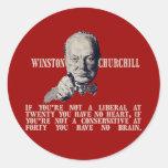 Churchill en conservadores y liberales etiqueta redonda