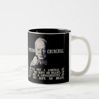 Churchill en conservadores y liberales taza dos tonos