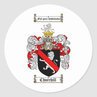 CHURCHILL FAMILY CREST -  CHURCHILL COAT OF ARMS CLASSIC ROUND STICKER