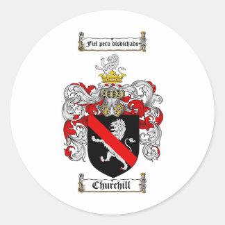 CHURCHILL FAMILY CREST -  CHURCHILL COAT OF ARMS CLASSIC ROUND STICKER