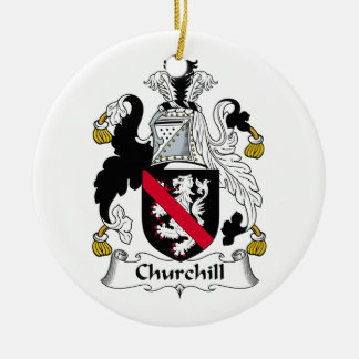 Churchill Family Crest Double-Sided Ceramic Round Christmas Ornament