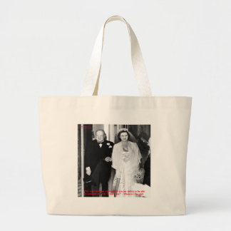 Churchill & Famous Marriage Quote Large Tote Bag
