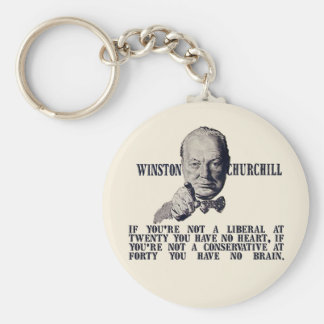Churchill on Conservatives and Liberals Basic Round Button Keychain