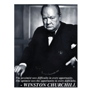 Churchill 'Optimist..opportunity' quote postcard