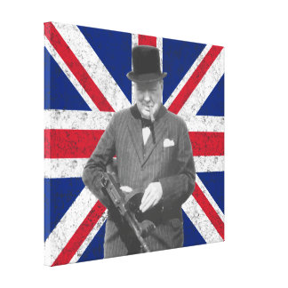 Churchill Posing With A Tommy Gun Stretched Canvas Prints