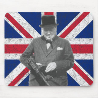 Churchill Posing With A Tommy Gun Mousepad