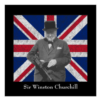 Churchill Posing With A Tommy Gun Print
