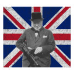 Churchill Posing With A Tommy Gun Poster