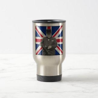 Churchill Posing With The British Flag Coffee Mugs