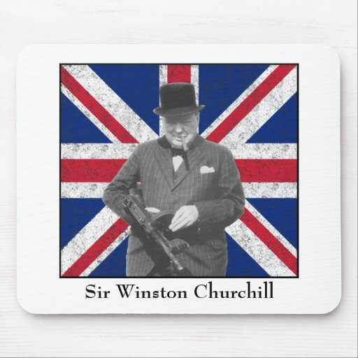Churchill Posing With The British Flag Mousepads