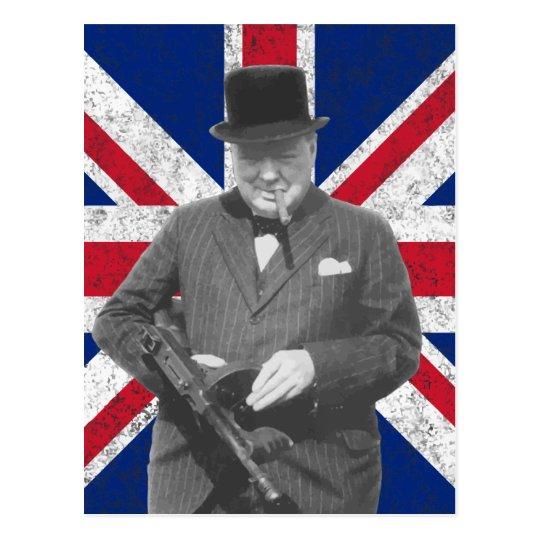 Churchill Posing With The British Flag Postcard