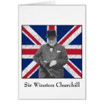 Churchill que presenta con la bandera británica tarjeta de felicitación