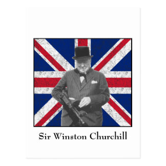 Churchill que presenta con la bandera británica tarjetas postales