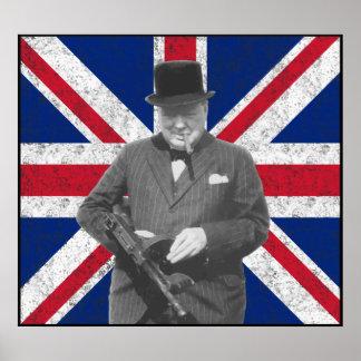 Churchill que presenta con un arma de Tommy Impresiones