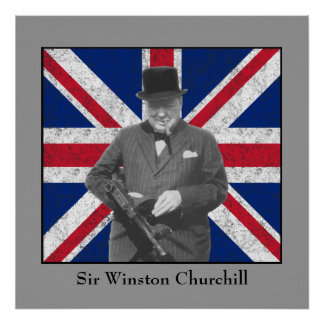Churchill que presenta con un arma de Tommy Poster