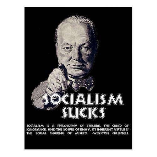 Churchill Quote  Socialism Sucks Postcard