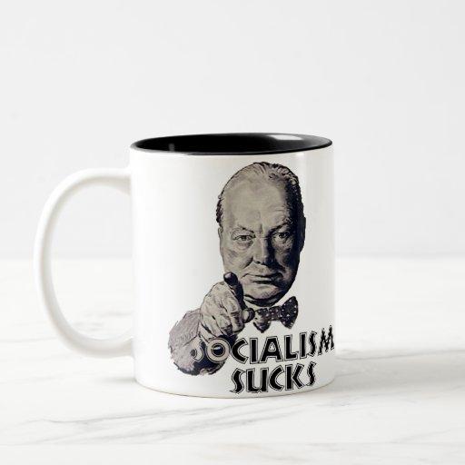 Churchill Quote: Socialism Sucks! Two-Tone Coffee Mug