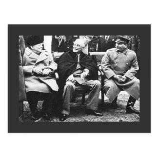 Churchill, Roosavelt y Stalin - en Yalta Tarjeta Postal