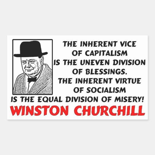 Churchill: Socialism Is Misery! Rectangular Sticker