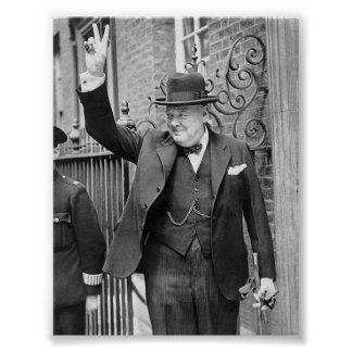 Churchill V sign Poster