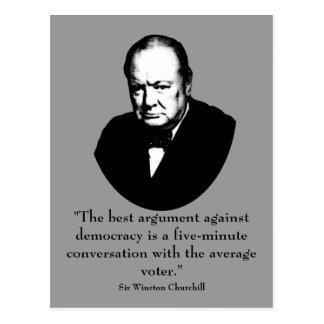 Churchill y cita divertida postal