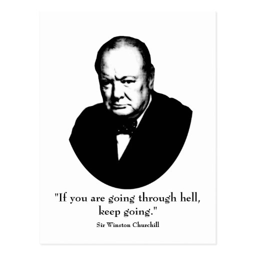 Churchill y cita tarjeta postal