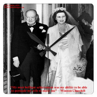 Churchill y reloj de pared famoso de la cita de la