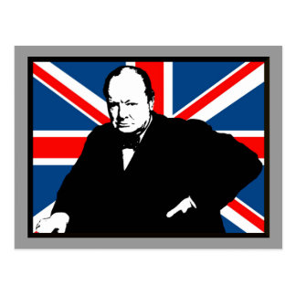 Churchill y Union Jack Tarjeta Postal