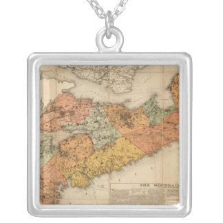Church's mineral map of Nova Scotia Silver Plated Necklace