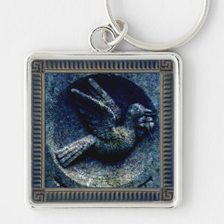 Churchyard Bird Silver-Colored Square Keychain
