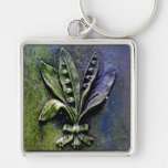 Churchyard Lily Silver-Colored Square Keychain