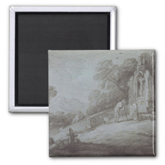 Churchyard with Figure Contemplating Tombstone (et 2 Inch Square Magnet
