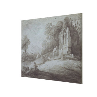 Churchyard with Figure Contemplating Tombstone (et Canvas Print