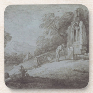 Churchyard with Figure Contemplating Tombstone (et Coasters