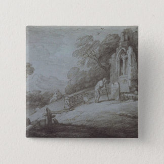 Churchyard with Figure Contemplating Tombstone (et Pinback Button