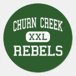 Churn Creek - Rebels - High - Redding California Round Stickers