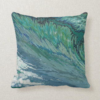 Churning Pacific Ocean Wave Blue & Green Pillow