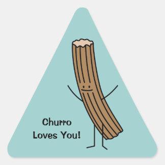 ¡Churro le ama! Pegatina Triangular