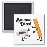 ¡Churro y chocolate - Buenos Dias! Imán De Frigorifico