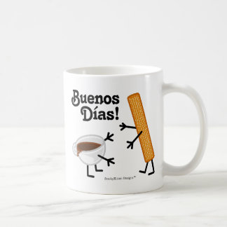 ¡Churro y chocolate - Buenos Dias! Taza Básica Blanca
