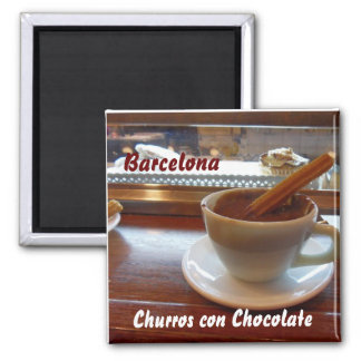 Churros con Chocolate, Barcelona 2 Inch Square Magnet