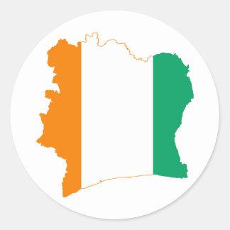 Ci del mapa de la bandera del d Ivoire de Cote Etiqueta Redonda