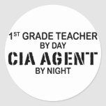 CIA AGENT BY NIGHT - 1ST GRADE ROUND STICKERS