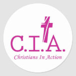 CIA Agents to the Lord Christians In Action Round Stickers