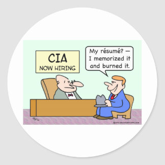 CIA applicant burned his resume. Stickers