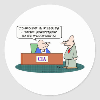 cia central intelligence agency worrywarts classic round sticker