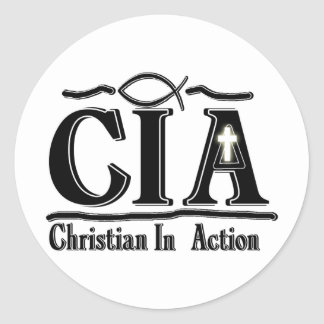 CIA CHRISTIAN IN ACTION ACRONYM ROUND STICKERS