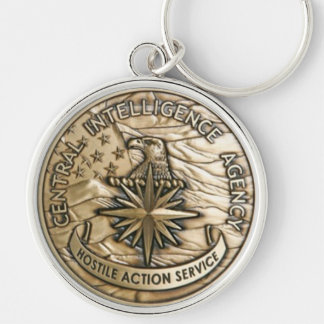CIA HOSTILE ACTION MEDAL Silver-Colored ROUND KEYCHAIN